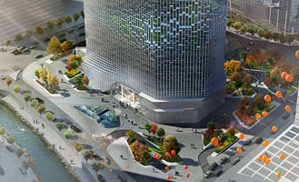 Winning entry for the remodelling of the Hanwha Headquarters and public space in Seoul